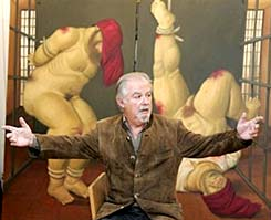 Fernando Botero and one of his Abu Ghraib paintings