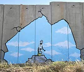 A Banksy image from part of his work in Palestine