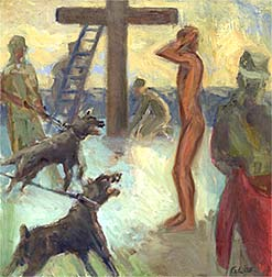Stripped of His Garments - Painting by Gwyneth Leech