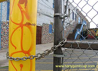 Photo of the locked down Self Help Graphics center by artist Harry Gamboa Jr. - www.harrygamboajr.com